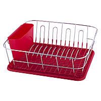 Сушилка для посуды Kamille 37х33х13,5см с поддоном KM-0763B