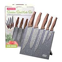Набор ножей Kamille 6 предметов из нержавеющей стали на подставке с мраморным покрытием KM-5046