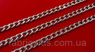 Цепь  декоративная 9*6 мм  никель граненная