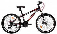 Горный подростковый велосипед 24 дюйма Crossride Skyline ВЕЛОСИПЕД спортивный 24 дюйм Кроссрайд МТВ черный