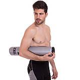 Килимок для йоги фітнесу спорту тренувань Zelart Гімнастичний спортивний Сірий-чорний (FI-2580), фото 9