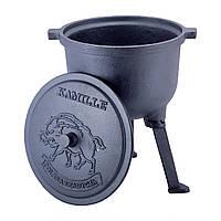 Казан чавунний 7л з кришкою Kamille на ніжках для приготування їжі на вогні і плити KM-4801V