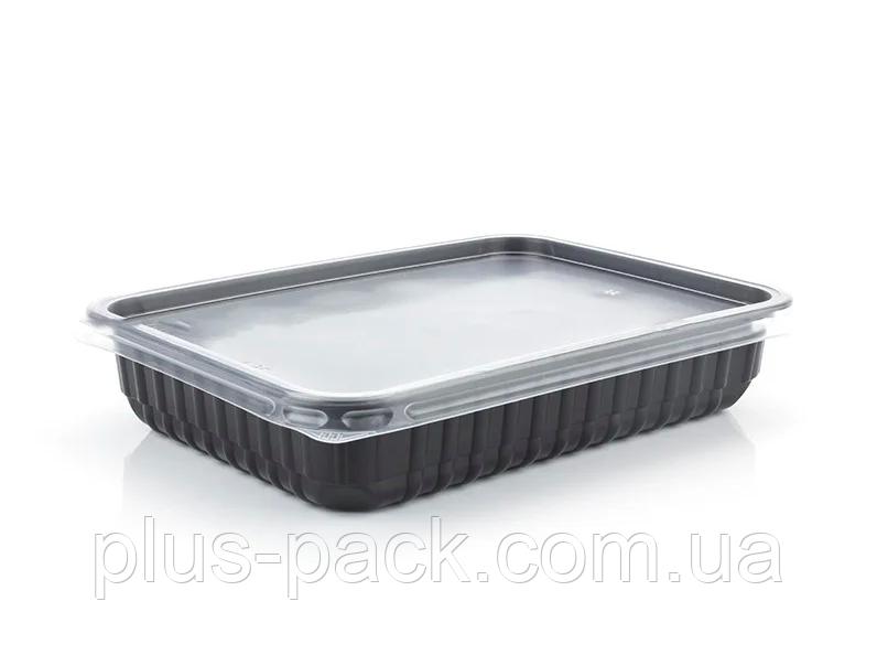 Контейнер прямоугольный для вторых блюд PP-500 Lux черный 500 мл, 500 шт/уп