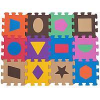 Дитячий килимок пазл SP-Planeta ігровий для занять спортом Геометрія 12 шт 13,5 х 13,5 см Різнобарвний (C-3526)