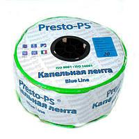 Капельная лента Presto-PS щелевая Blue Line отверстия через 20 см, расход воды 2,4 л/ч, длина 1000 м