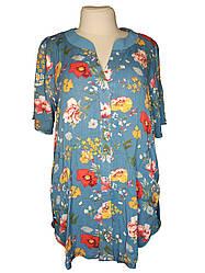 Легкая рубашка батальная с цветочным рисунком