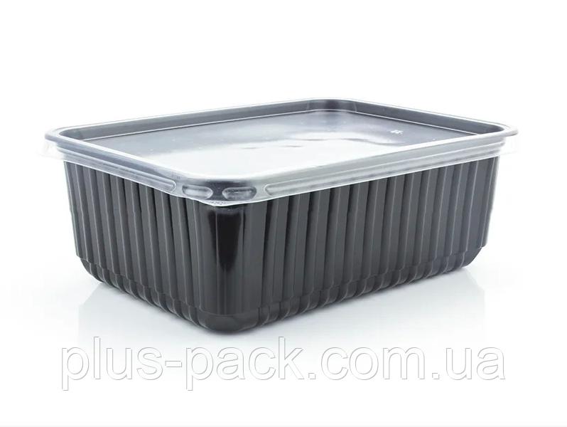 Контейнер прямоугольный для вторых блюд PP-1000 Lux черный 1000мл, 500 шт/ящ