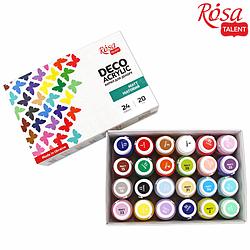 Набор акриловых красок для декора, матовый, 24 цв.*20 мл, ROSA