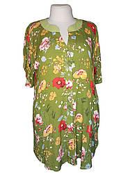 Летняя рубашка батал для полных женщин цвета оливки