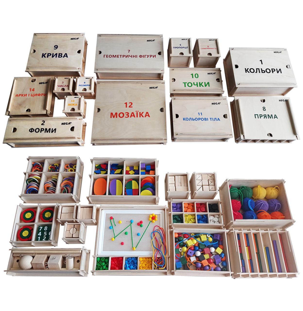 Повний дидактичний набір Фребеля Hega 14 коробок з повним методичним посібником (243)