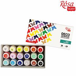 Набор акриловых красок для декора, матовый, 18 цв.*20 мл, ROSA