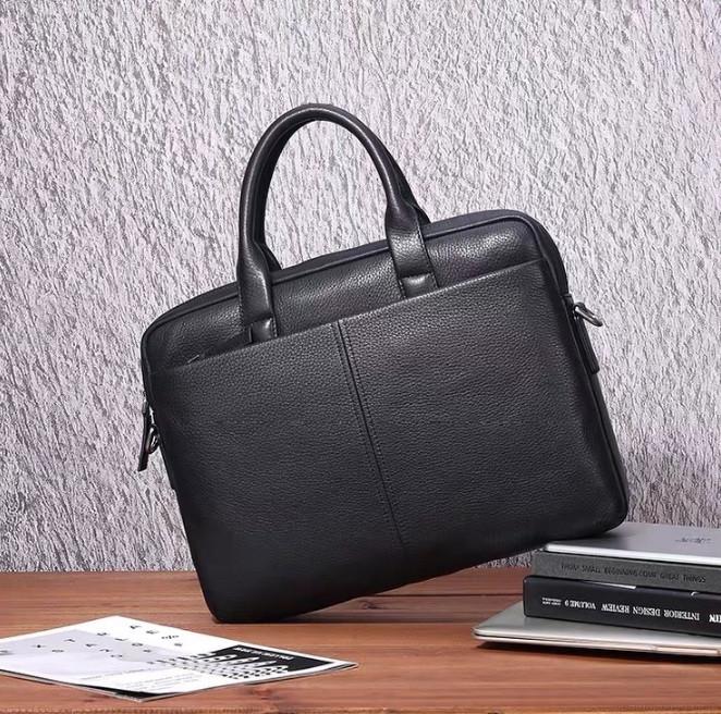 Кожаный мужской деловой портфель для документов планшета черный | Качественная мужская офисная сумка формат А4