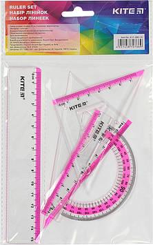 """Набір геометричний """"Kite"""" №K17-280-10 (лінійка 15см,транспортир)(24)(96)"""