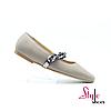 Жіночі туфельки- пуанти  шкіряні з ланцюжком кольору cremme