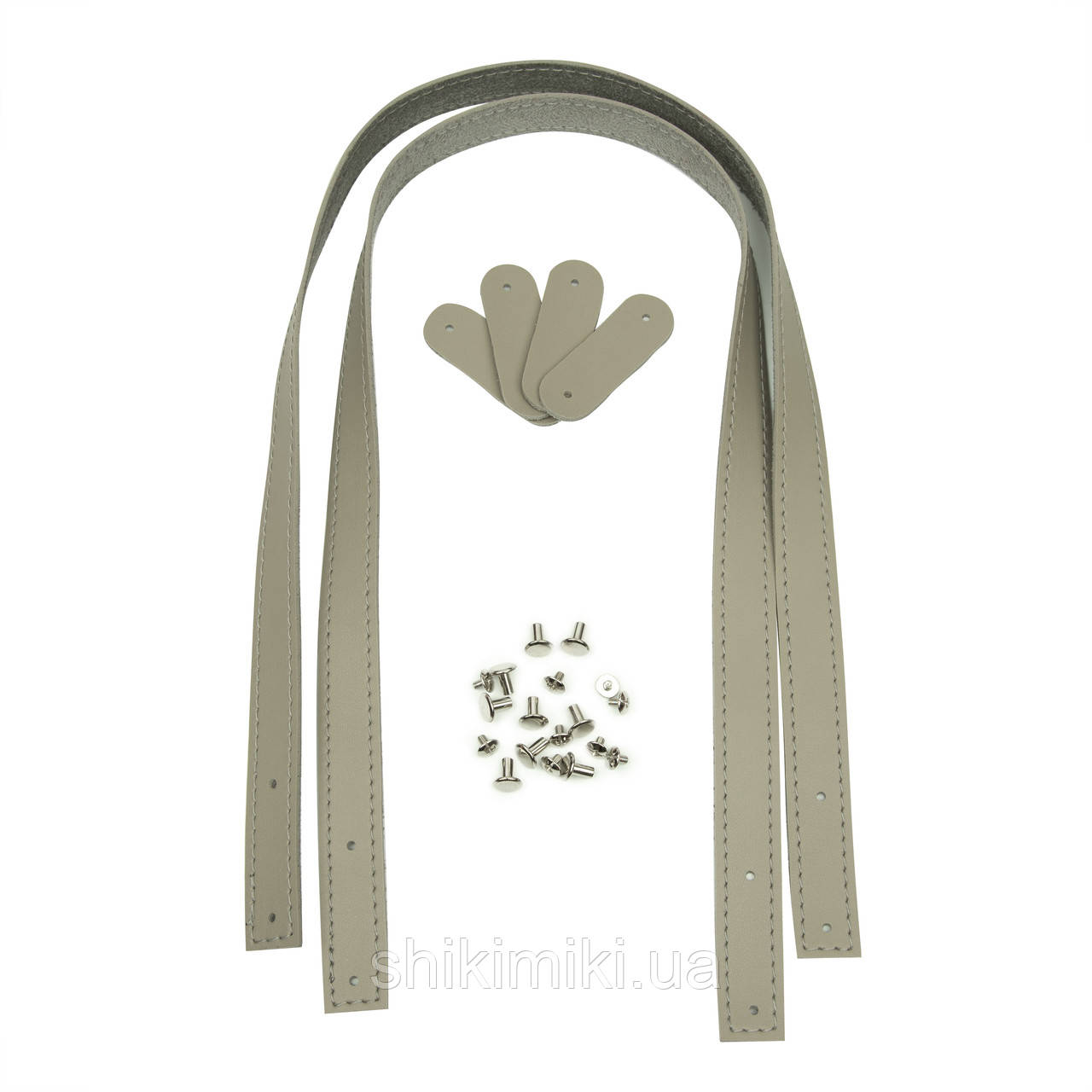 Ручки на винтах для шопперов из эко кожи, 70*2 см, цвет серо-бежевый
