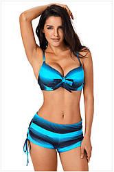 Раздельный купальник с шортиками. Цвет голубой.