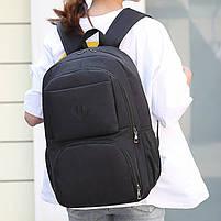 Городской молодежный рюкзак с USB зарядкой для телефона и отделением под ноутбук черный, фото 3