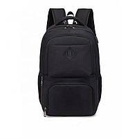 Городской молодежный рюкзак с USB зарядкой для телефона и отделением под ноутбук черный, фото 2