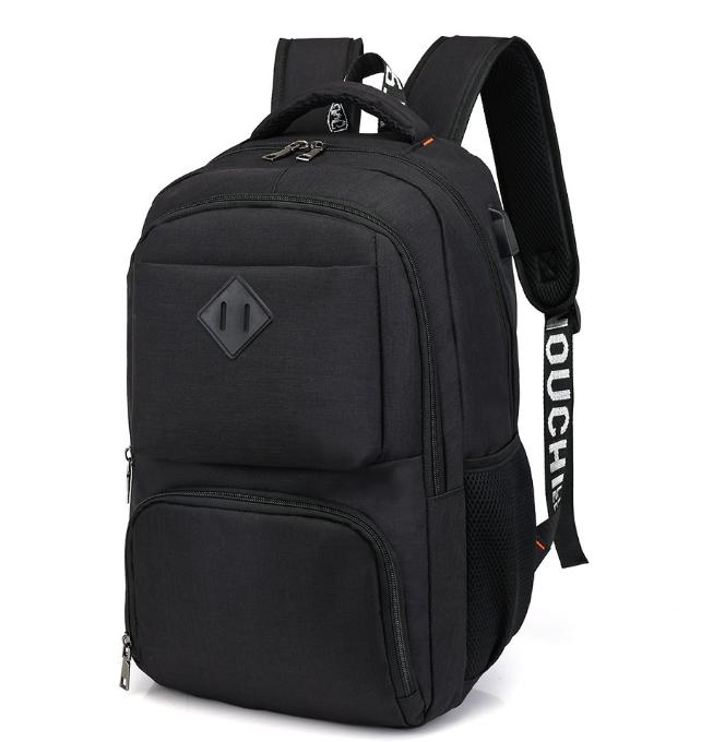 Городской молодежный рюкзак с USB зарядкой для телефона и отделением под ноутбук черный