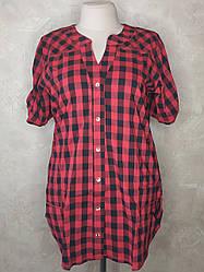 Женская рубашка в клетку больших размеров красная