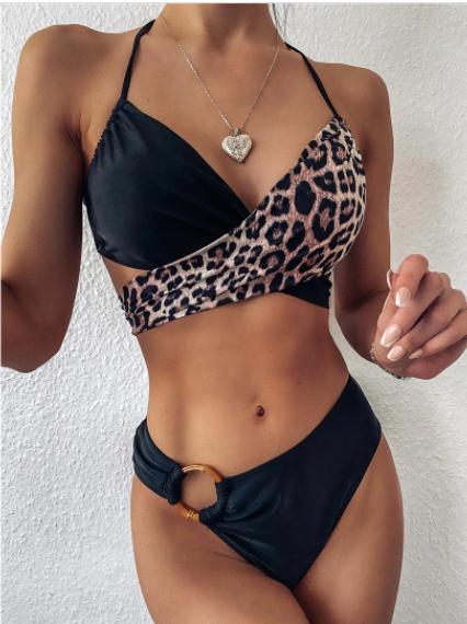 Купальник жіночий роздільний леопардовий. Ліф на зав'язках
