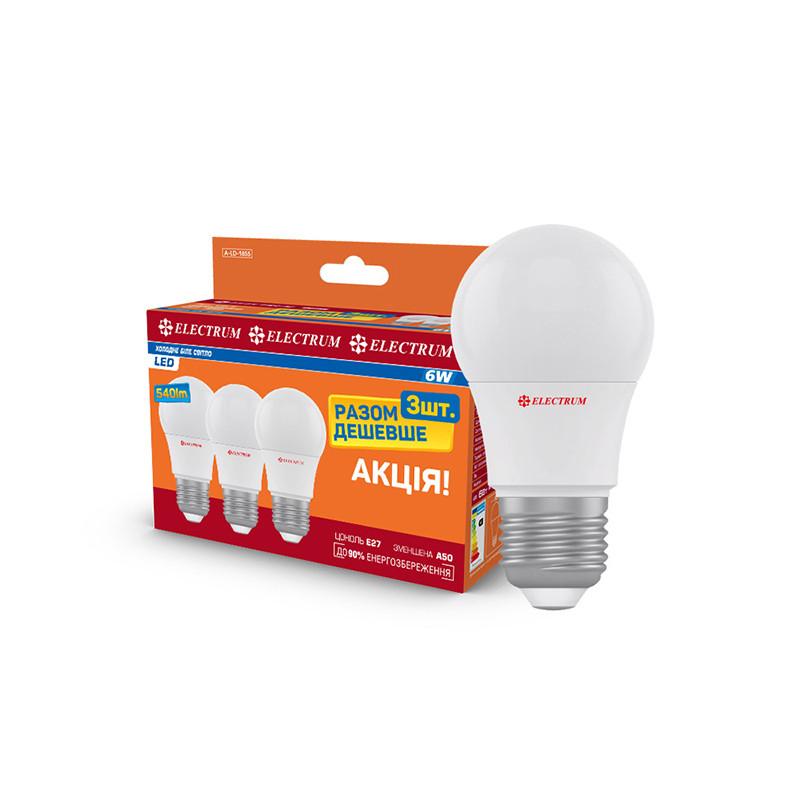 Комплект ламп светодиодных стандартных LD-7 6W E27 4000K алюмопластиковый корпус 3шт.