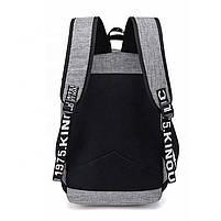 Міський молодіжний рюкзак з USB зарядкою для телефону та відділення під ноутбук сірий, фото 3