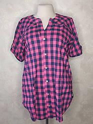 Стильная рубашка в клетку для полных женщин летняя малиновая