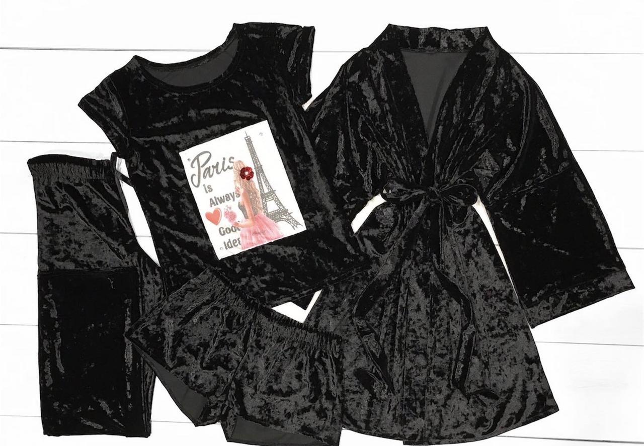 Велюровый комплект 4-ка ТМ Exclusive Халат+футболка+шорты+штаны