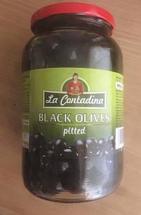 Оливки (маслини) великі чорні без кісточок La Contandina, 950г, Італія, у банку, оливки з Єгипту