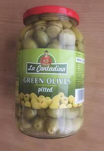 Оливки великі зелені, без кісточок La Contandina, 950г, Італія, у банку, оливки з Єгипту