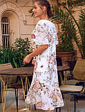 Сукня-трапеція міді в квітковому принті з коротким рукавом, фото 6