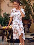 Сукня-трапеція міді в квітковому принті з коротким рукавом, фото 3