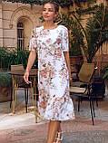 Сукня-трапеція міді в квітковому принті з коротким рукавом, фото 4
