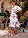 Сукня-трапеція міді в квітковому принті з коротким рукавом, фото 2