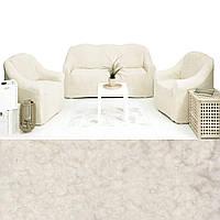 Натяжные чехлы на диваны и кресла накидки с ворсом меховые съемны, чехол для дивана и кресла плюшевый Кремовый