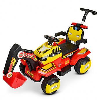 Детский электромобиль трактор-екскаватор 3 в 1 каталка-толокар Bambi