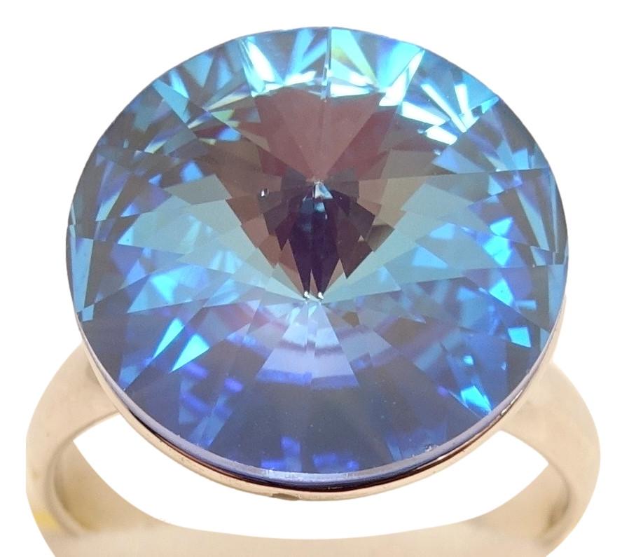 """Кольцо ХР Родий с кристаллами Swarovski """"Кристалл Capri Blue"""" р.16.5-17"""