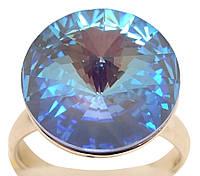 """Кольцо ХР Родий с кристаллами Swarovski """"Кристалл Capri Blue"""" р.16.5-17, фото 1"""