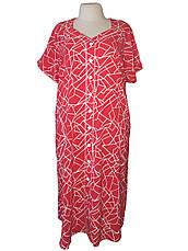Плаття-халат на ґудзиках батал великого розміру червоне, фото 3
