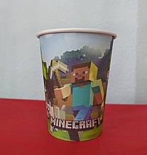 Набор бумажных стаканов принт Minecraft майнкрафт 250мл 5шт.