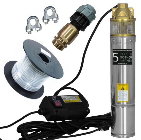 Погружной глубинный насос для скважин центробежный WISLA 4SKM-100 - 0,75кВт С КЛАПАНОМ 5 ЛЕТ ГАРАНТИИ (трос)