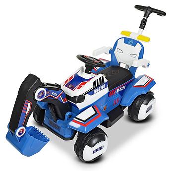 Детский электромобиль трактор-екскаватор 3 в 1 каталка-толокар Bambi синий