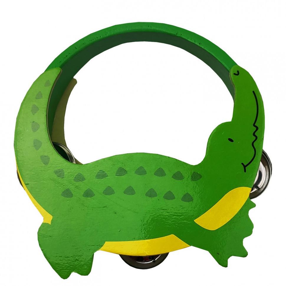 Деревянная игрушка Бубен MD 2477  14 см  (Крокодил)