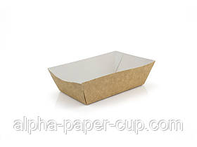 Тарелка 133*91*35 мм крафт-белый ламинированнная, 100 шт/уп, 1600 шт/ящ