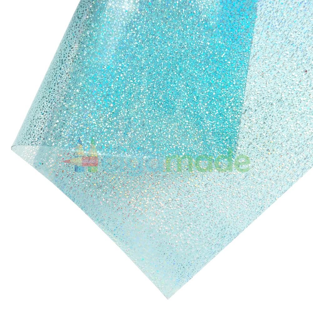 Пленка ПВХ с перламутровыми блестками АКВА, 20х25 см, Китай