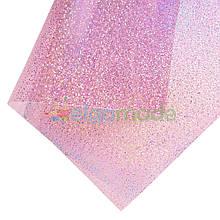 Пленка ПВХ с перламутровыми блестками РОЗОВАЯ, 20х25 см, Китай