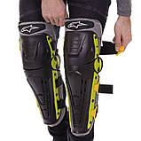 Мотозахист колін гомілки 2 шт наколінники шарнірні Alpinestars Чорний-салатовий Пластик (MS-4821), фото 2