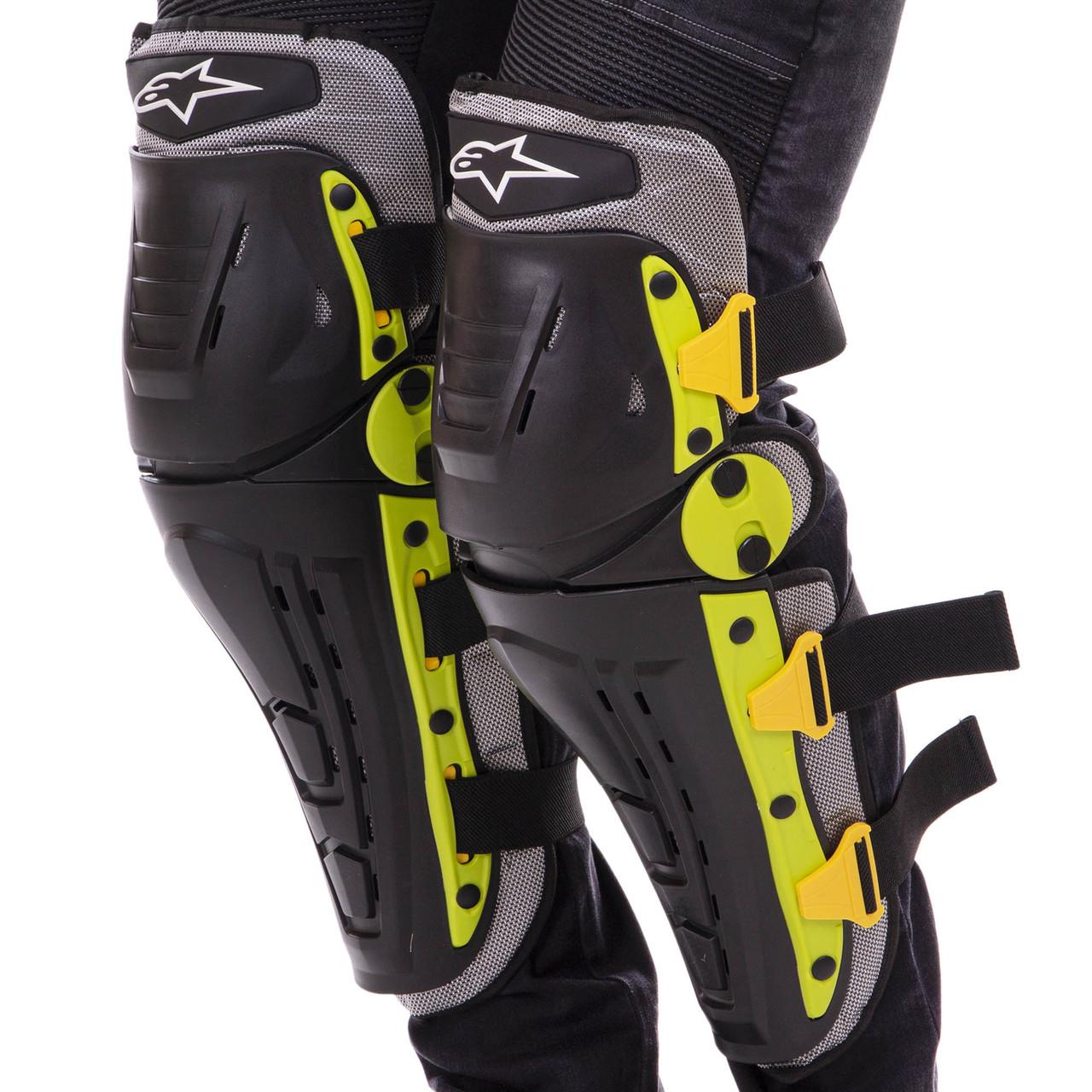 Мотозахист колін гомілки 2 шт наколінники шарнірні Alpinestars Чорний-салатовий Пластик (MS-4821)