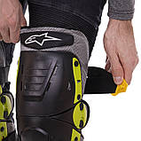 Мотозахист колін гомілки 2 шт наколінники шарнірні Alpinestars Чорний-салатовий Пластик (MS-4821), фото 3
